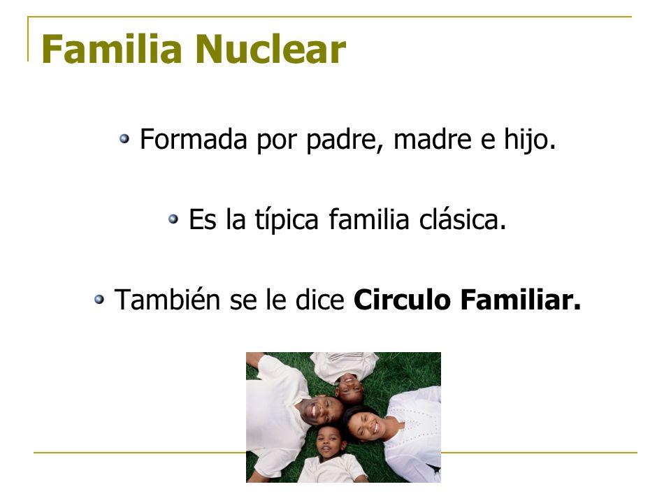 Familia Nuclear Formada por padre, madre e hijo. Es la típica familia clásica. También se le dice Circulo Familiar.