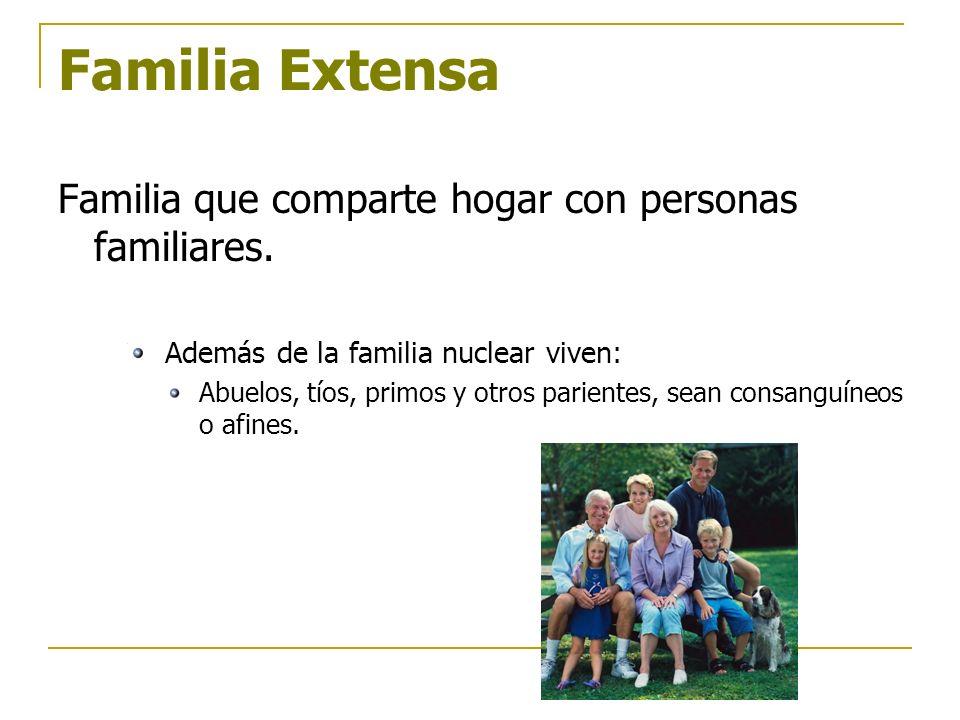 Familia Extensa Familia que comparte hogar con personas familiares. Además de la familia nuclear viven: Abuelos, tíos, primos y otros parientes, sean