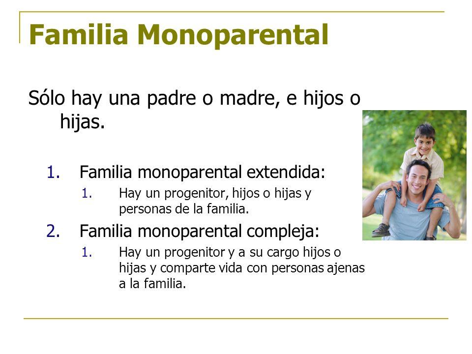 Familia Monoparental Sólo hay una padre o madre, e hijos o hijas. 1.Familia monoparental extendida: 1.Hay un progenitor, hijos o hijas y personas de l