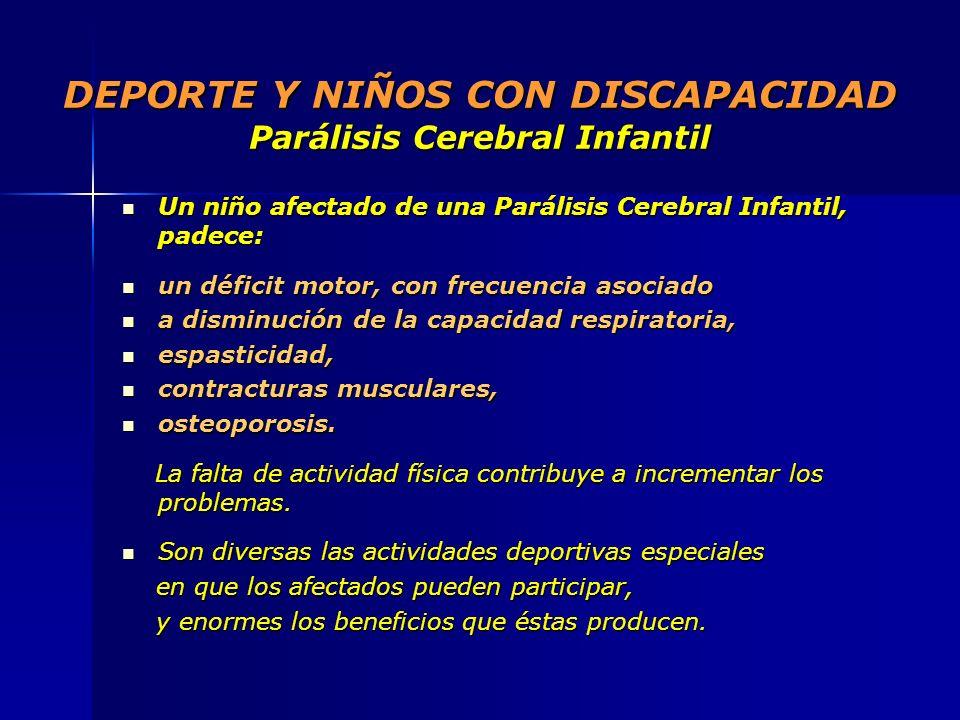 DEPORTE Y NIÑOS CON DISCAPACIDAD Parálisis Cerebral Infantil Un niño afectado de una Parálisis Cerebral Infantil, padece: Un niño afectado de una Pará