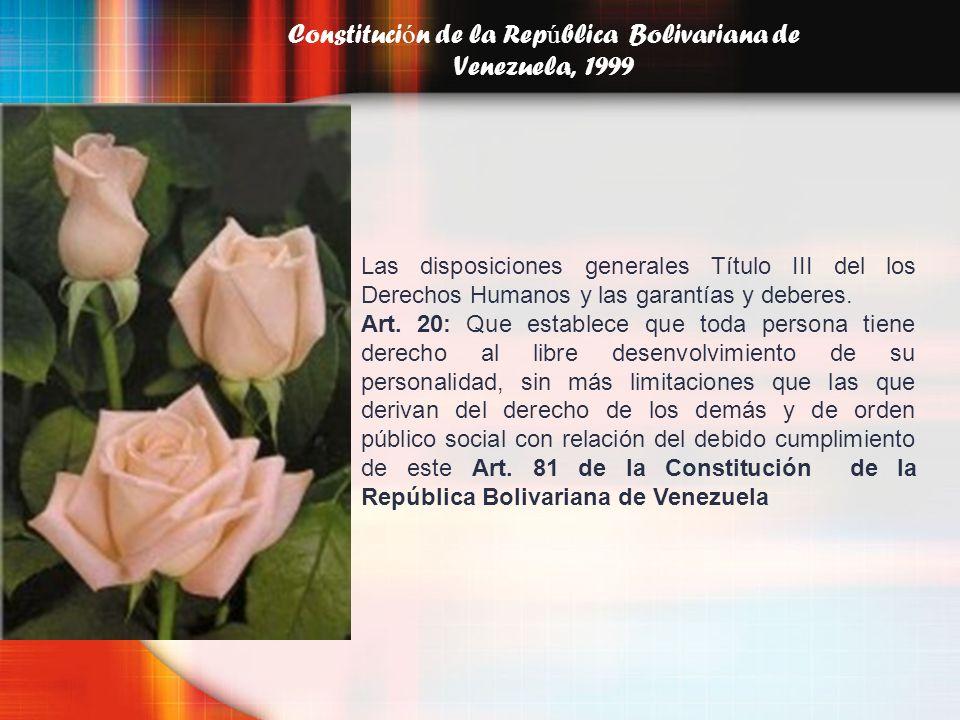 Constituci ó n de la Rep ú blica Bolivariana de Venezuela, 1999 Las disposiciones generales Título III del los Derechos Humanos y las garantías y debe