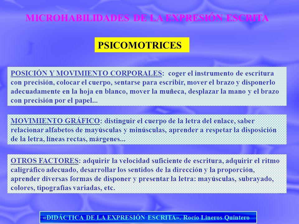 MICROHABILIDADES DE LA EXPRESIÓN ESCRITA PSICOMOTRICES POSICIÓN Y MOVIMIENTO CORPORALES: coger el instrumento de escritura con precisión, colocar el c