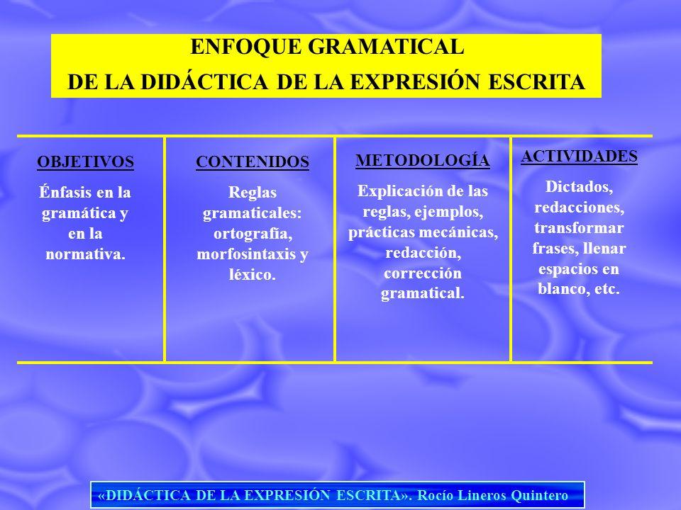 ENFOQUE GRAMATICAL DE LA DIDÁCTICA DE LA EXPRESIÓN ESCRITA OBJETIVOS Énfasis en la gramática y en la normativa. CONTENIDOS Reglas gramaticales: ortogr