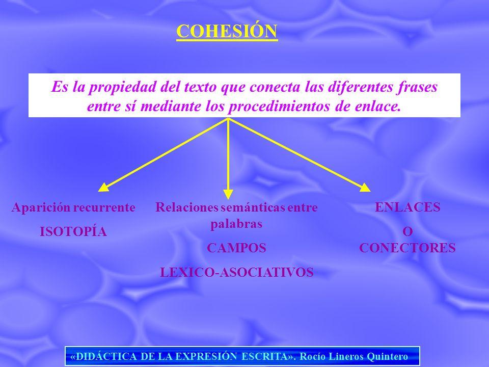 COHESIÓN Es la propiedad del texto que conecta las diferentes frases entre sí mediante los procedimientos de enlace. Aparición recurrente ISOTOPÍA Rel
