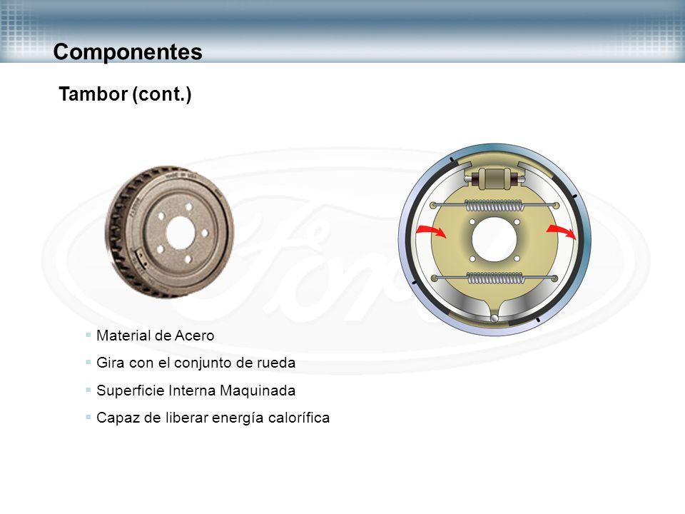 Componentes Tambor (cont.) Material de Acero Gira con el conjunto de rueda Superficie Interna Maquinada Capaz de liberar energía calorífica