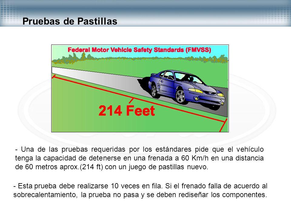 Pruebas de Pastillas - Una de las pruebas requeridas por los estándares pide que el vehículo tenga la capacidad de detenerse en una frenada a 60 Km/h