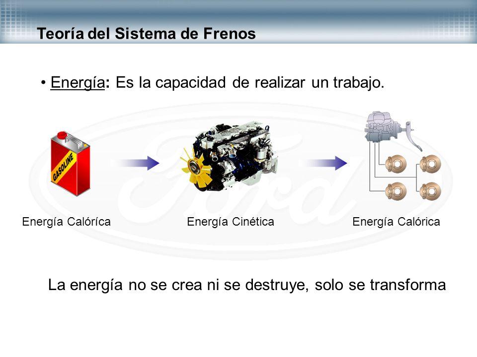 Teoría del Sistema de Frenos Energía: Es la capacidad de realizar un trabajo. Energía CalórícaEnergía CinéticaEnergía Calórica La energía no se crea n