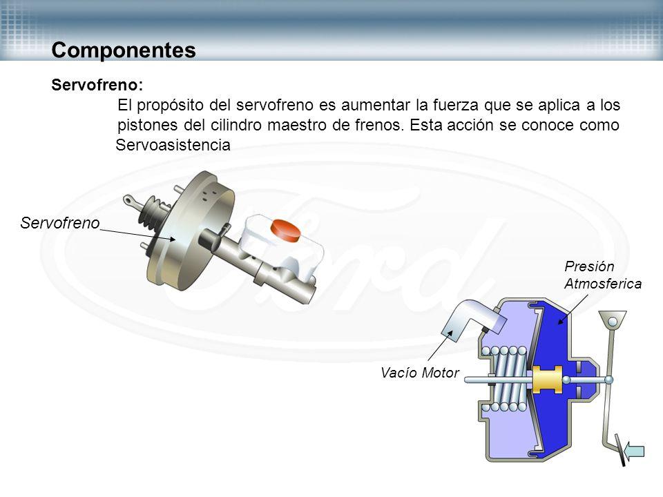 Componentes Servofreno: El propósito del servofreno es aumentar la fuerza que se aplica a los pistones del cilindro maestro de frenos. Esta acción se