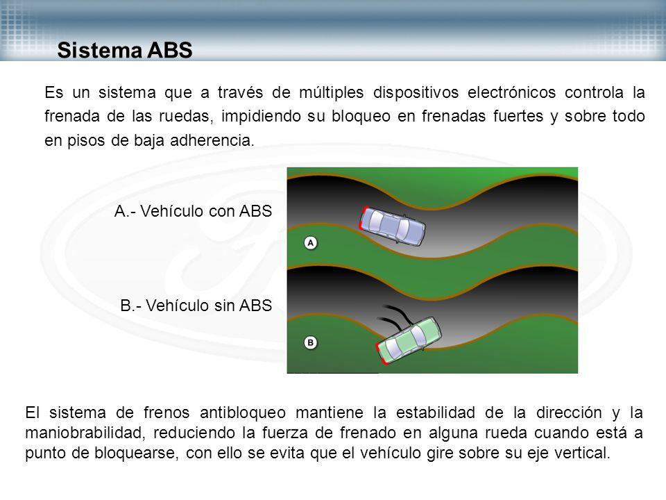 Es un sistema que a través de múltiples dispositivos electrónicos controla la frenada de las ruedas, impidiendo su bloqueo en frenadas fuertes y sobre