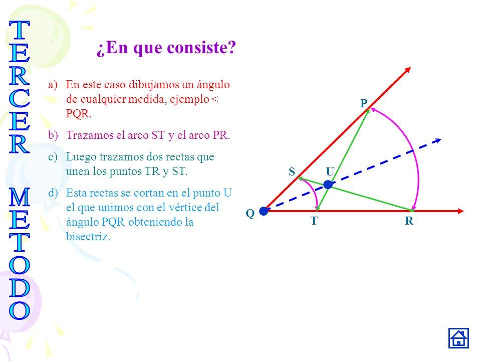 ¿En que consiste? Q R S T P U a)En este caso dibujamos un ángulo de cualquier medida, ejemplo < PQR. b)Trazamos el arco ST y el arco PR. c)Luego traza