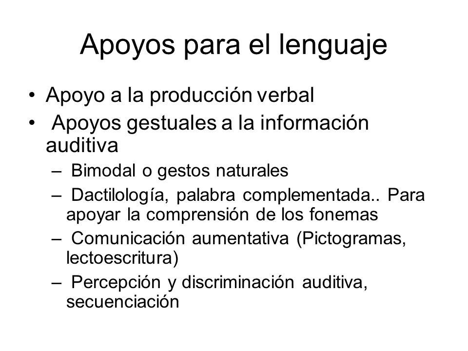 Apoyos para el lenguaje Apoyo a la producción verbal Apoyos gestuales a la información auditiva – Bimodal o gestos naturales – Dactilología, palabra complementada..