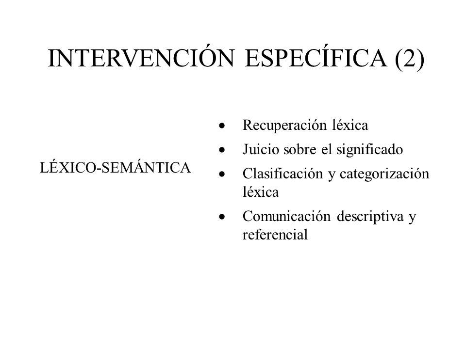 INTERVENCIÓN ESPECÍFICA (2) Recuperación léxica Juicio sobre el significado Clasificación y categorización léxica Comunicación descriptiva y referencial LÉXICO-SEMÁNTICA