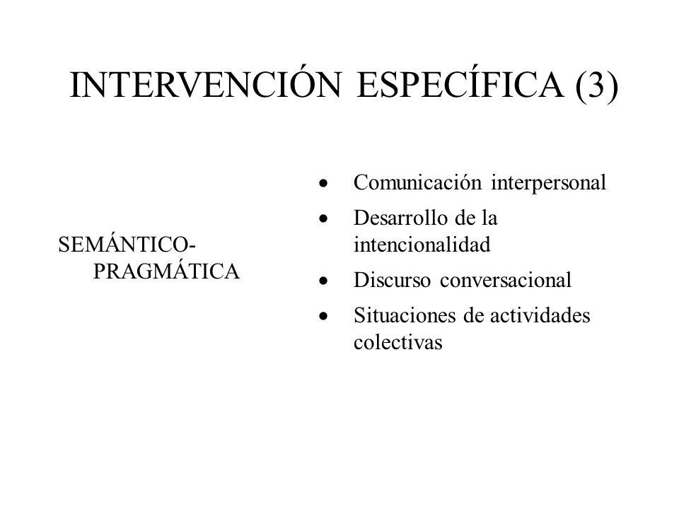 INTERVENCIÓN ESPECÍFICA (3) Comunicación interpersonal Desarrollo de la intencionalidad Discurso conversacional Situaciones de actividades colectivas SEMÁNTICO- PRAGMÁTICA