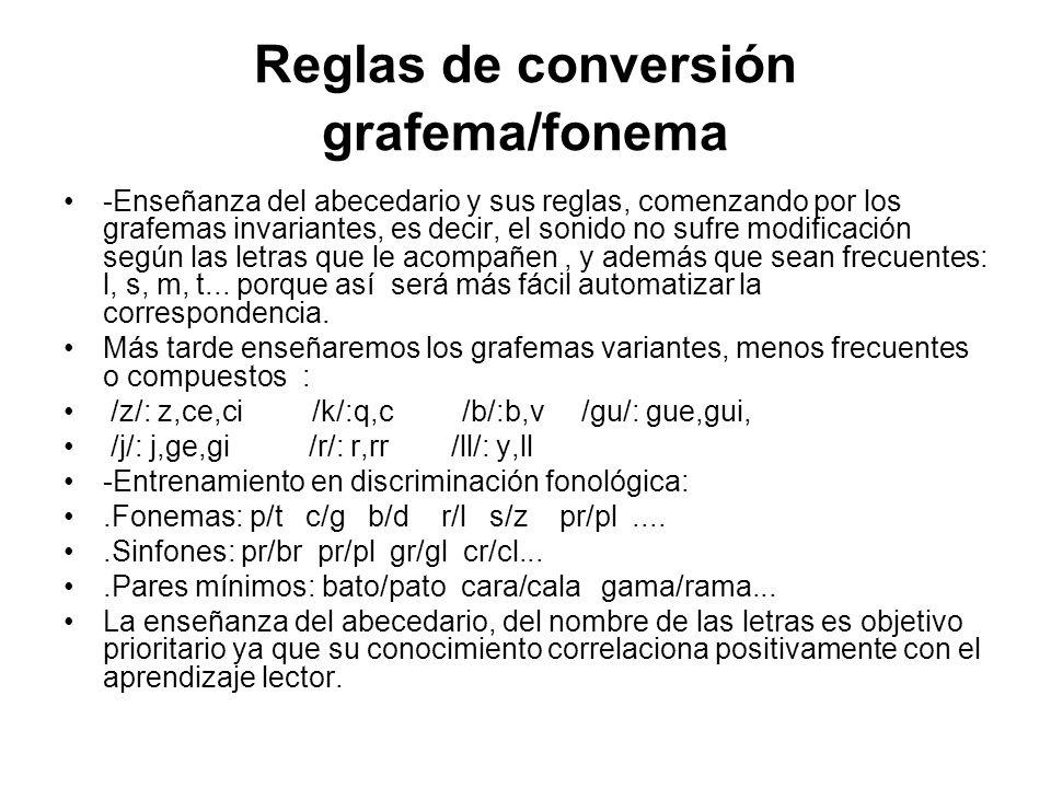 Reglas de conversión grafema/fonema -Enseñanza del abecedario y sus reglas, comenzando por los grafemas invariantes, es decir, el sonido no sufre modificación según las letras que le acompañen, y además que sean frecuentes: l, s, m, t...