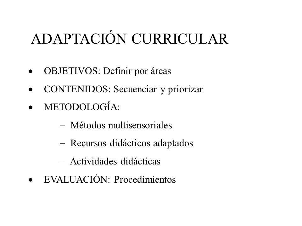 ADAPTACIÓN CURRICULAR OBJETIVOS: Definir por áreas CONTENIDOS: Secuenciar y priorizar METODOLOGÍA: Métodos multisensoriales Recursos didácticos adaptados Actividades didácticas EVALUACIÓN: Procedimientos