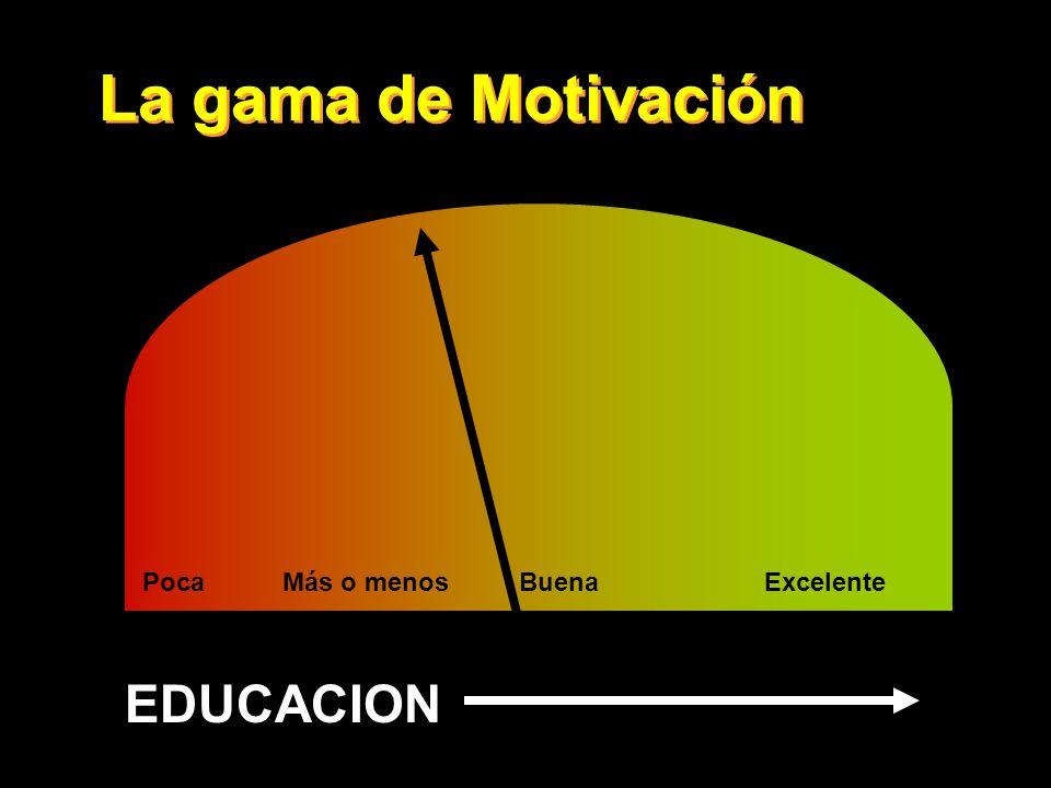 La gama de Motivación PocaMás o menosBuenaExcelente EDUCACION