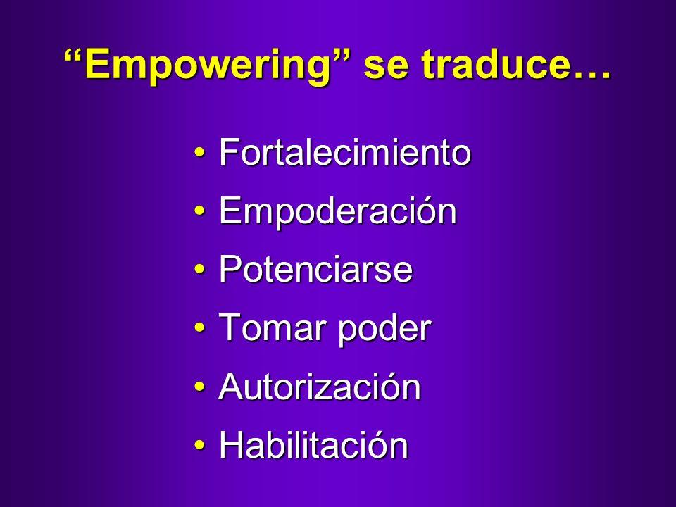 Empowering se traduce… FortalecimientoFortalecimiento EmpoderaciónEmpoderación PotenciarsePotenciarse Tomar poderTomar poder AutorizaciónAutorización