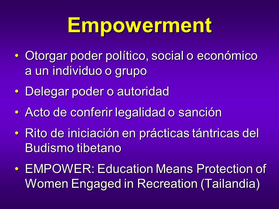 Empowerment Otorgar poder político, social o económico a un individuo o grupoOtorgar poder político, social o económico a un individuo o grupo Delegar