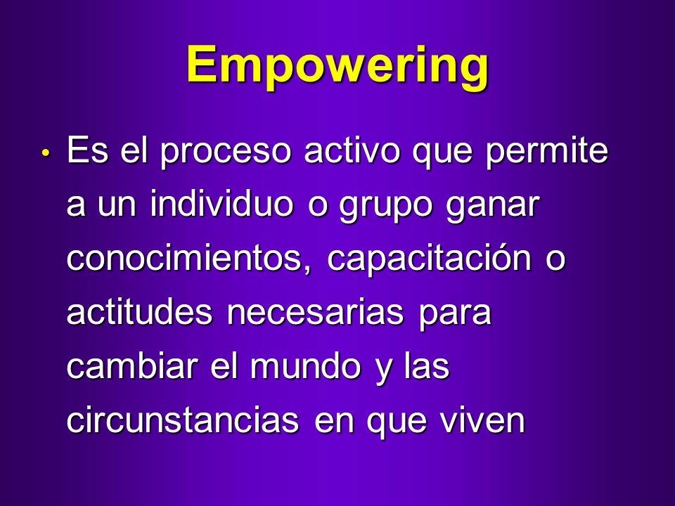 Empowering Es el proceso activo que permite a un individuo o grupo ganar conocimientos, capacitación o actitudes necesarias para cambiar el mundo y la