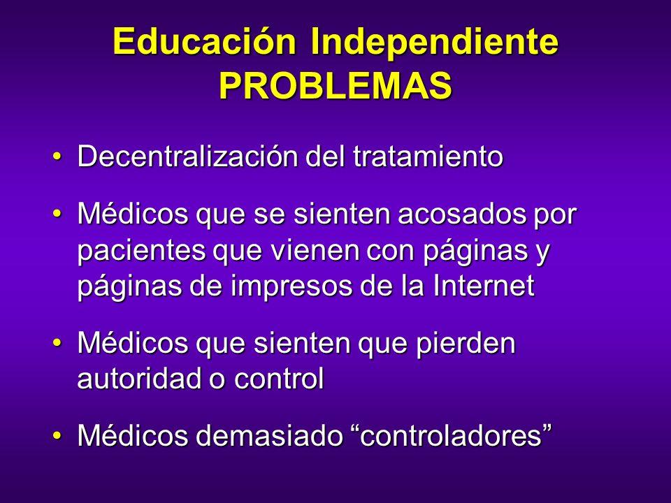 Educación Independiente PROBLEMAS Decentralización del tratamientoDecentralización del tratamiento Médicos que se sienten acosados por pacientes que v