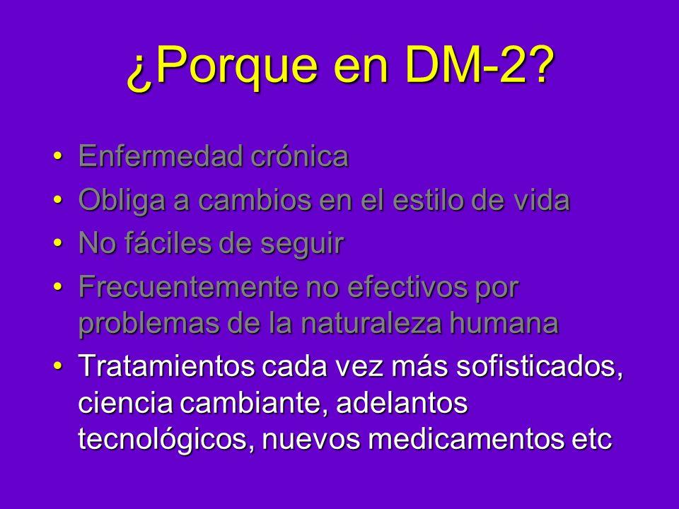 ¿Porque en DM-2? Enfermedad crónicaEnfermedad crónica Obliga a cambios en el estilo de vidaObliga a cambios en el estilo de vida No fáciles de seguirN