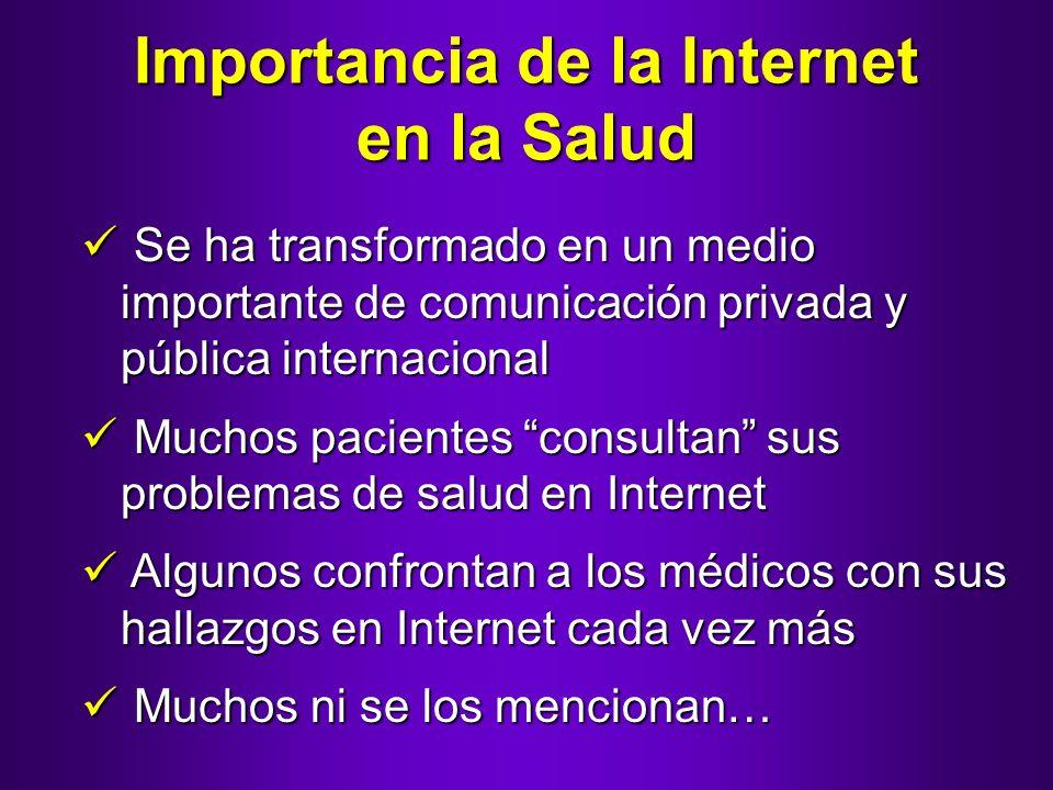 Importancia de la Internet en la Salud Se ha transformado en un medio importante de comunicación privada y pública internacional Se ha transformado en