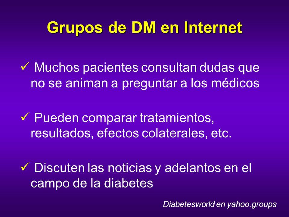 Grupos de DM en Internet Muchos pacientes consultan dudas que no se animan a preguntar a los médicos Pueden comparar tratamientos, resultados, efectos