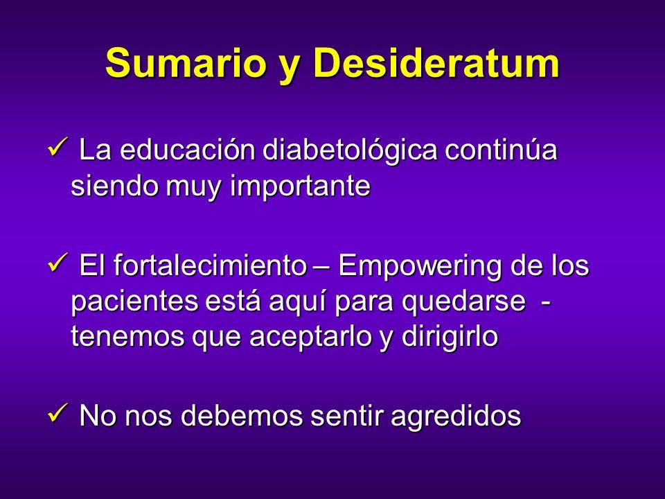 Sumario y Desideratum La educación diabetológica continúa siendo muy importante La educación diabetológica continúa siendo muy importante El fortaleci