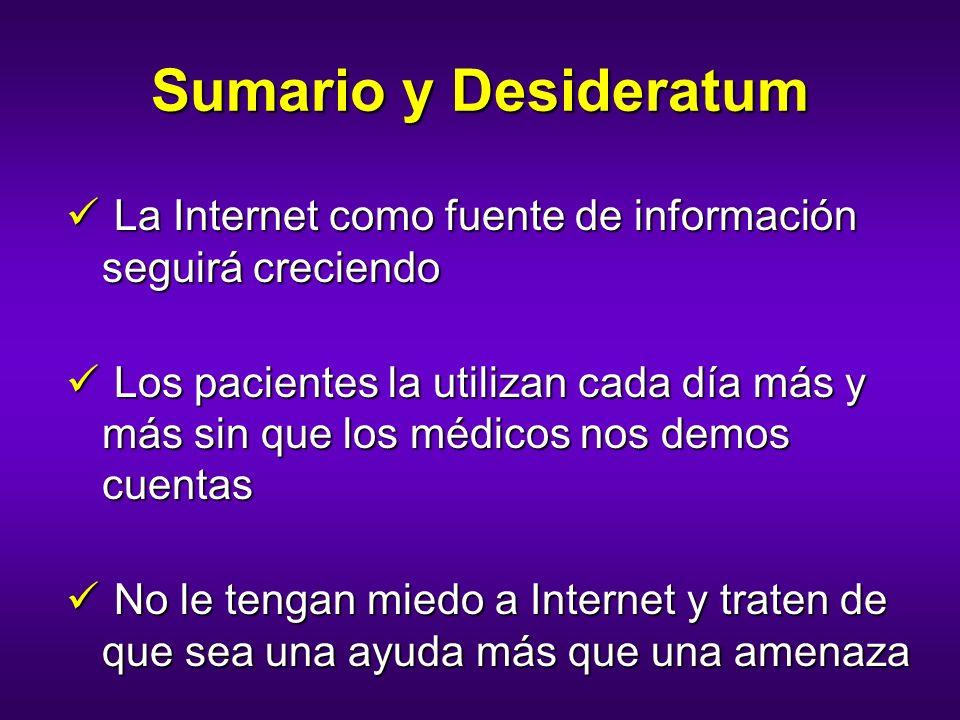 Sumario y Desideratum La Internet como fuente de información seguirá creciendo La Internet como fuente de información seguirá creciendo Los pacientes