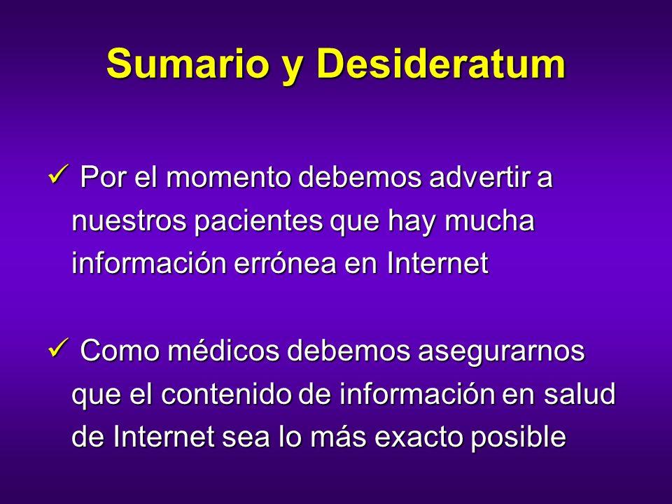 Sumario y Desideratum Por el momento debemos advertir a nuestros pacientes que hay mucha información errónea en Internet Por el momento debemos advert