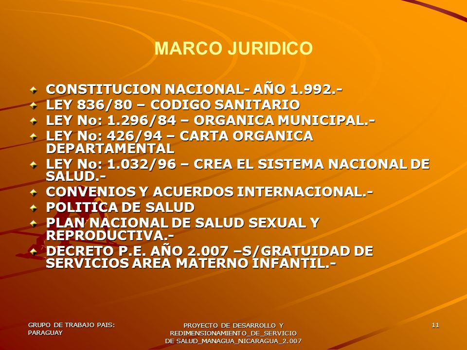 GRUPO DE TRABAJO PAIS: PARAGUAY PROYECTO DE DESARROLLO Y REDIMENSIONAMIENTO_DE_SERVICIO DE SALUD_MANAGUA_NICARAGUA_2.007 11 MARCO JURIDICO CONSTITUCIO