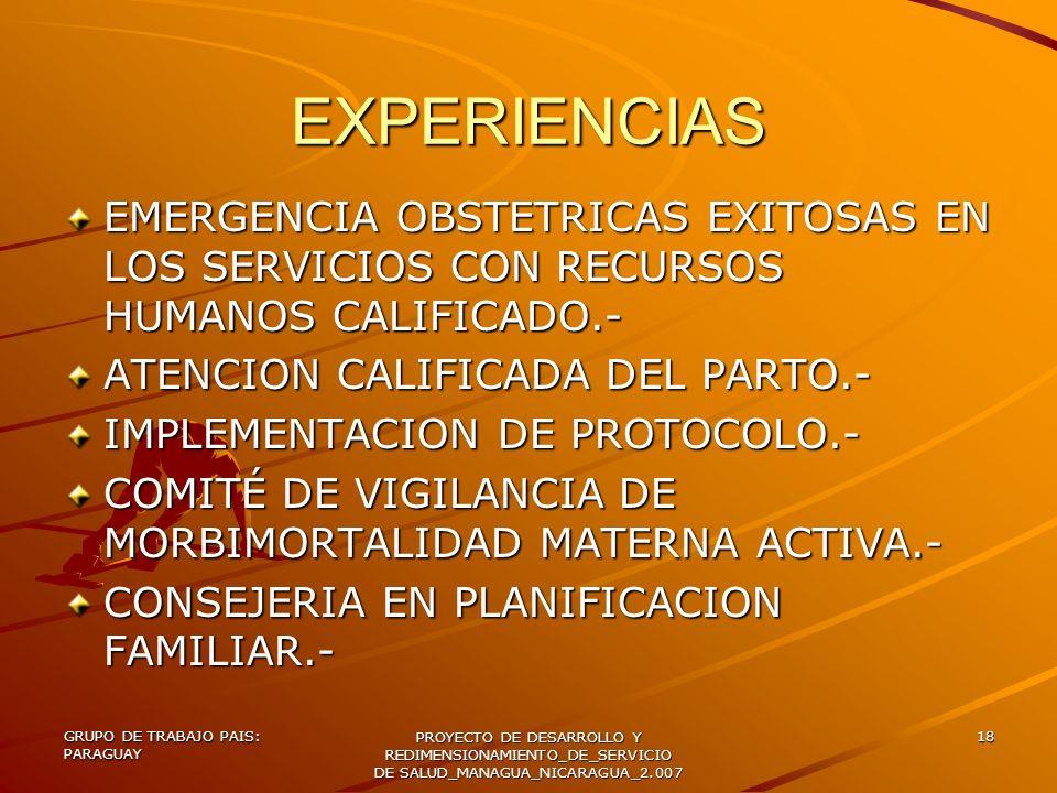 GRUPO DE TRABAJO PAIS: PARAGUAY PROYECTO DE DESARROLLO Y REDIMENSIONAMIENTO_DE_SERVICIO DE SALUD_MANAGUA_NICARAGUA_2.007 18 EXPERIENCIAS EMERGENCIA OB