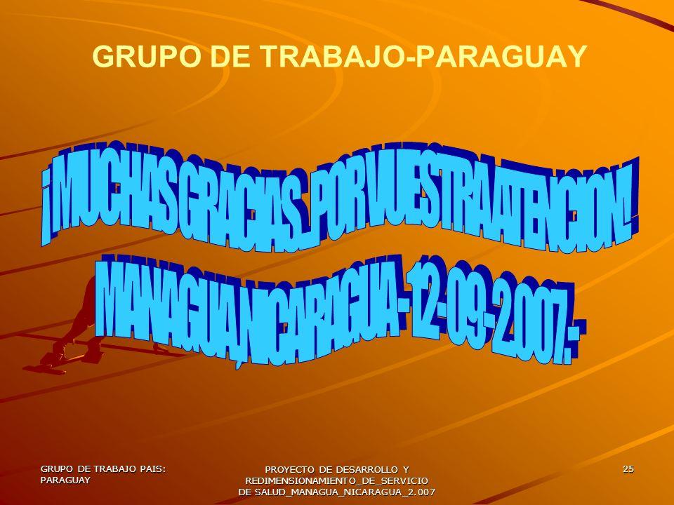 GRUPO DE TRABAJO PAIS: PARAGUAY PROYECTO DE DESARROLLO Y REDIMENSIONAMIENTO_DE_SERVICIO DE SALUD_MANAGUA_NICARAGUA_2.007 25 GRUPO DE TRABAJO-PARAGUAY