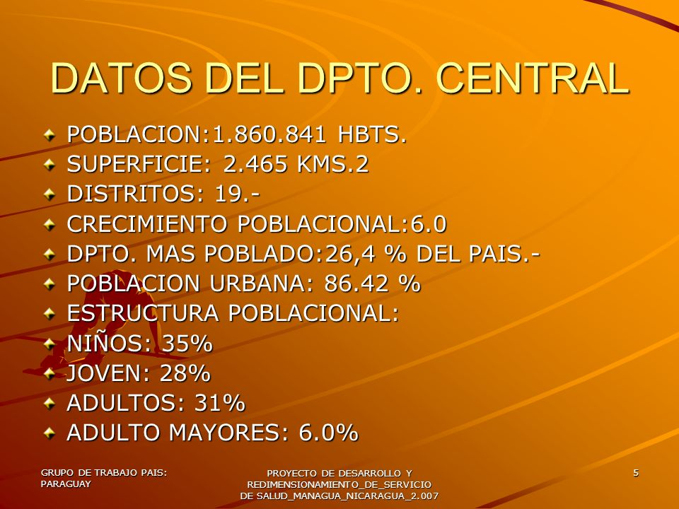 GRUPO DE TRABAJO PAIS: PARAGUAY PROYECTO DE DESARROLLO Y REDIMENSIONAMIENTO_DE_SERVICIO DE SALUD_MANAGUA_NICARAGUA_2.007 6 DATOS SOCIO-DEMOGRAFICOS –DPTO.