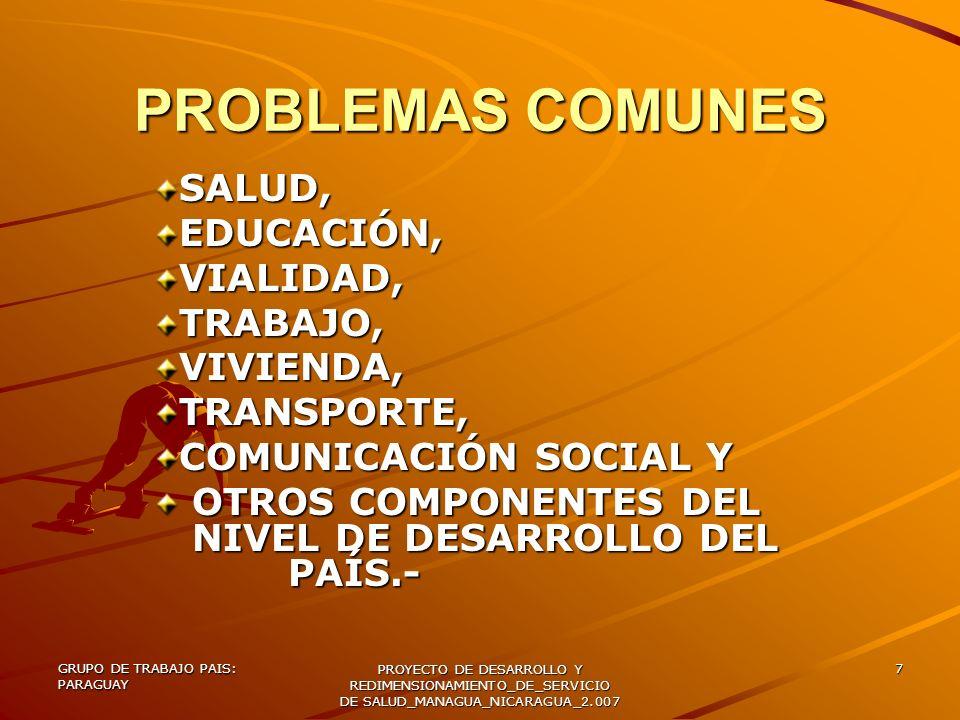 GRUPO DE TRABAJO PAIS: PARAGUAY PROYECTO DE DESARROLLO Y REDIMENSIONAMIENTO_DE_SERVICIO DE SALUD_MANAGUA_NICARAGUA_2.007 8 PERFIL EPIDEMIOLÓGICO - PARAGUAY DE TRANSICIÓN SANITARIA CON ENFERMEDADES DEL DESARROLLO: CARDIOPATÍAS ACCIDENTES CEREBRO VASCULARES TUMORES VIOLENCIAS Y CAUSAS EXTERNAS DIABETES HIPERTENSIÓN ARTERIAL DISLIPIDEMIAS ENFERMEDADES DEL SUBDESARROLLO: PREVENIBLES POR VACUNAS PARASITOSIS DESNUTRICIÓN DIARREAS NEUMONÍAS