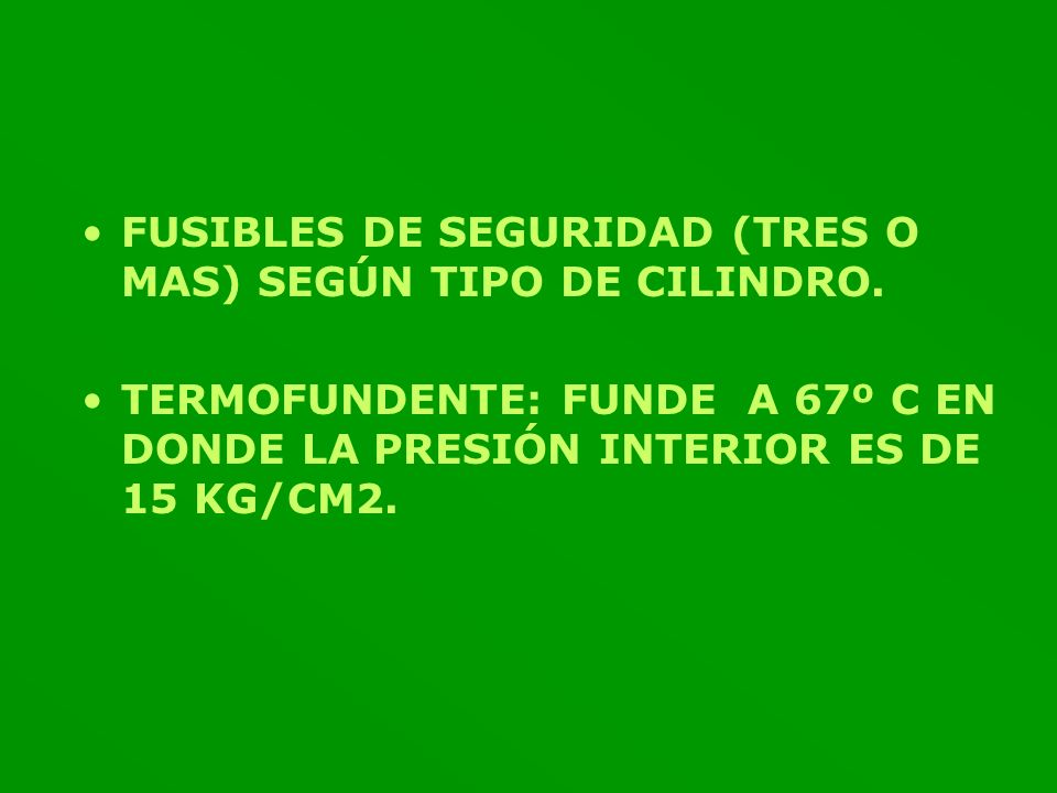 FUSIBLES DE SEGURIDAD (TRES O MAS) SEGÚN TIPO DE CILINDRO.