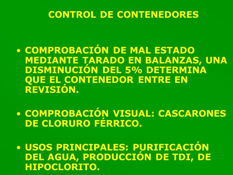 CONTROL DE CONTENEDORES COMPROBACIÓN DE MAL ESTADO MEDIANTE TARADO EN BALANZAS, UNA DISMINUCIÓN DEL 5% DETERMINA QUE EL CONTENEDOR ENTRE EN REVISIÓN.