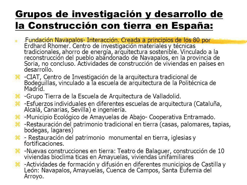 Grupos de investigación y desarrollo de la Construcción con tierra en España: z- Fundación Navapalos- Interacción.
