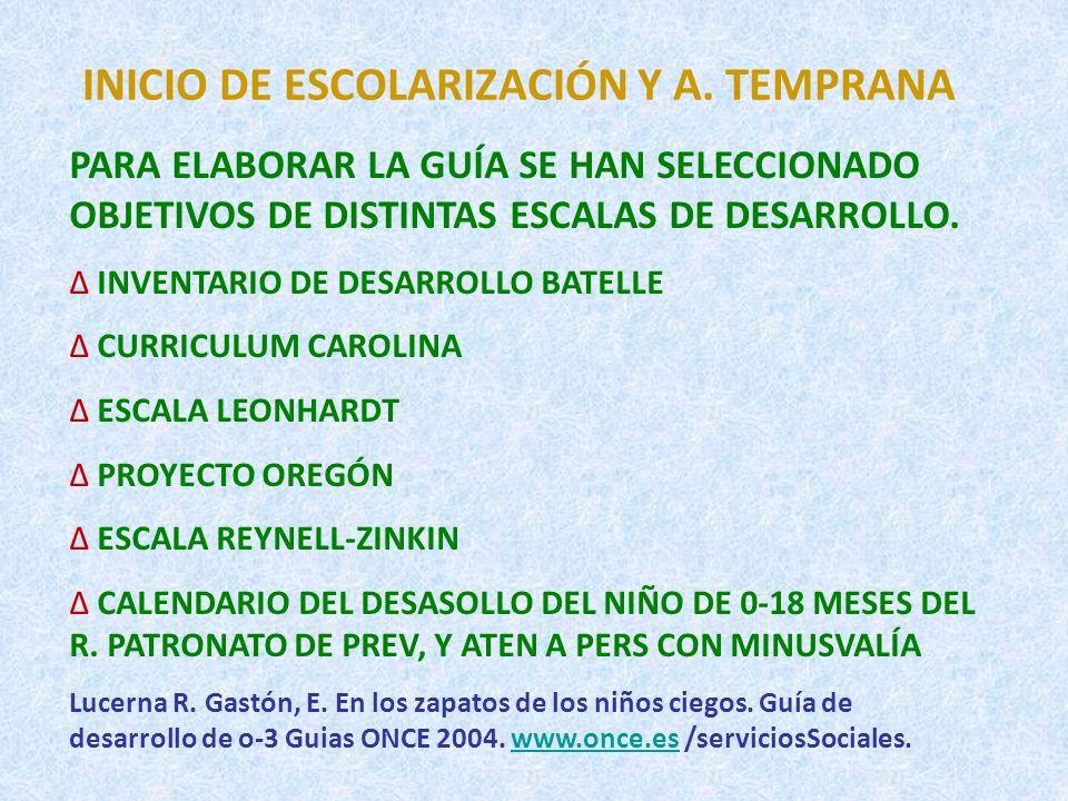 ESCALAS Y TEST.(I) ESCALA LEONHARDT DE DESARROLLO PARA NIÑOS CON CEGUERA DE 0-2 AÑOS: EVALÚA LAS SIGUIENTES ÁREAS: CONTROL POSTURAL Y MOTRICIDAD, SENTIDO AUDITIVO, COMUNICACIÓN, INTERACCIÓN SOCIAL,ADQUISICIÓN DEL HABLA, SENTIDO TÁCTIL- MOTRICIDAD FINA, EXPLORACIÓN, DESARROLLO COGNITIVO- COMPRENSIÓN DE CONCEPTOS ESPACIALES, TEMPORALES..