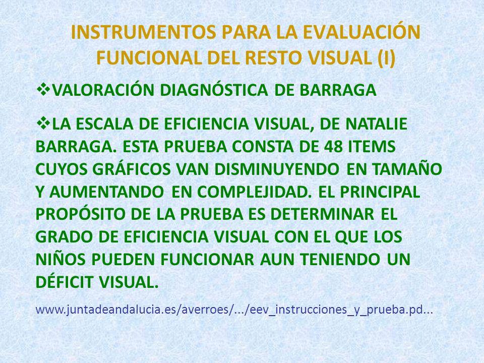 INSTRUMENTOS PARA LA EVALUACIÓN FUNCIONAL DEL RESTO VISUAL (II) MIRA Y PIENSA.