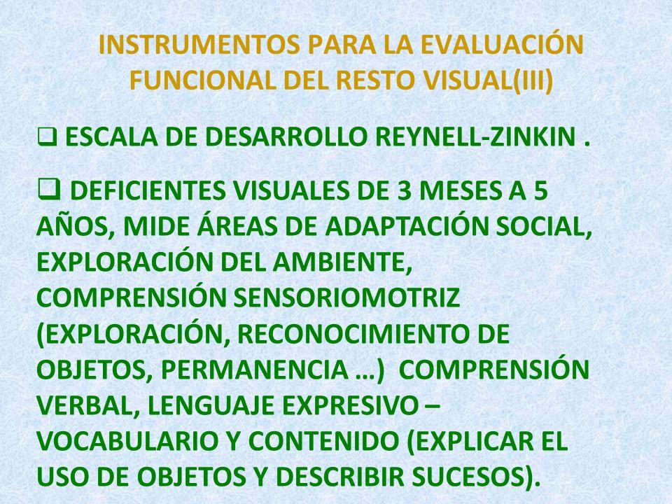 INSTRUMENTOS PARA LA EVALUACIÓN FUNCIONAL DEL RESTO VISUAL (IV) VAP-CAP.