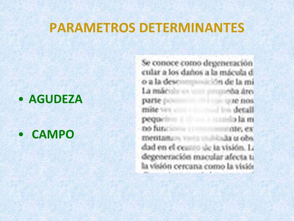 EVALUACIÓN DEL FUNCIONAMIENTO VISUAL (I) 1.AGUDEZA VISUAL CAPACIDAD PARA PERCIBIR LOS DETALLES DE UN OBJETO.