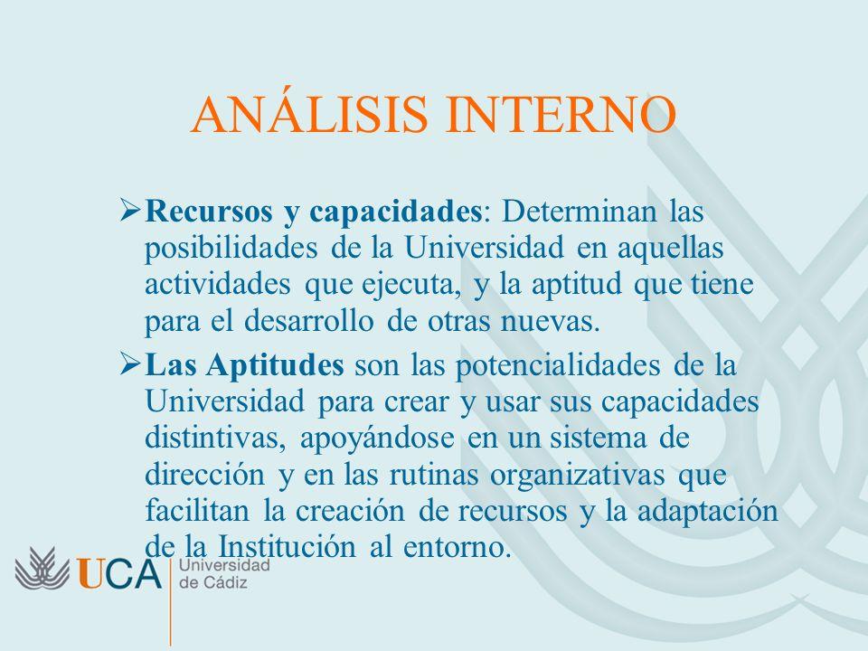 ANÁLISIS INTERNO Recursos y capacidades: Determinan las posibilidades de la Universidad en aquellas actividades que ejecuta, y la aptitud que tiene pa