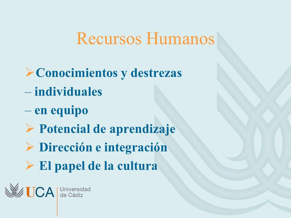 Recursos Humanos Conocimientos y destrezas – individuales – en equipo Potencial de aprendizaje Dirección e integración El papel de la cultura
