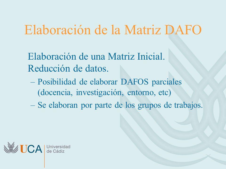 Elaboración de la Matriz DAFO Elaboración de una Matriz Inicial. Reducción de datos. –Posibilidad de elaborar DAFOS parciales (docencia, investigación