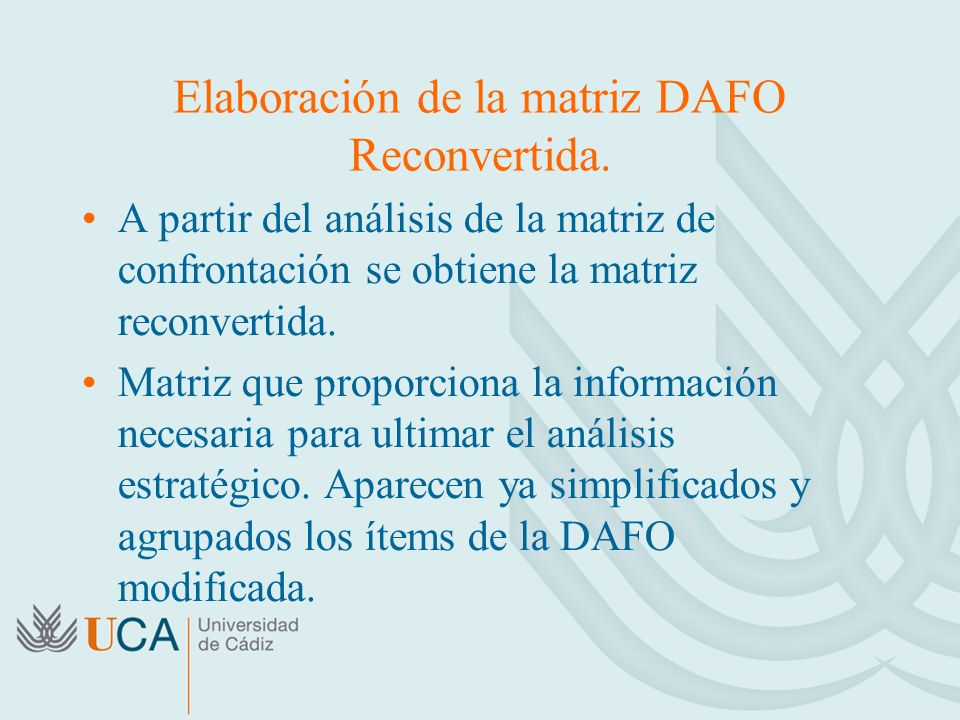 Elaboración de la matriz DAFO Reconvertida. A partir del análisis de la matriz de confrontación se obtiene la matriz reconvertida. Matriz que proporci