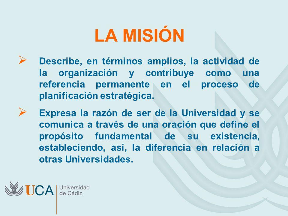 LA MISIÓN Describe, en términos amplios, la actividad de la organización y contribuye como una referencia permanente en el proceso de planificación es