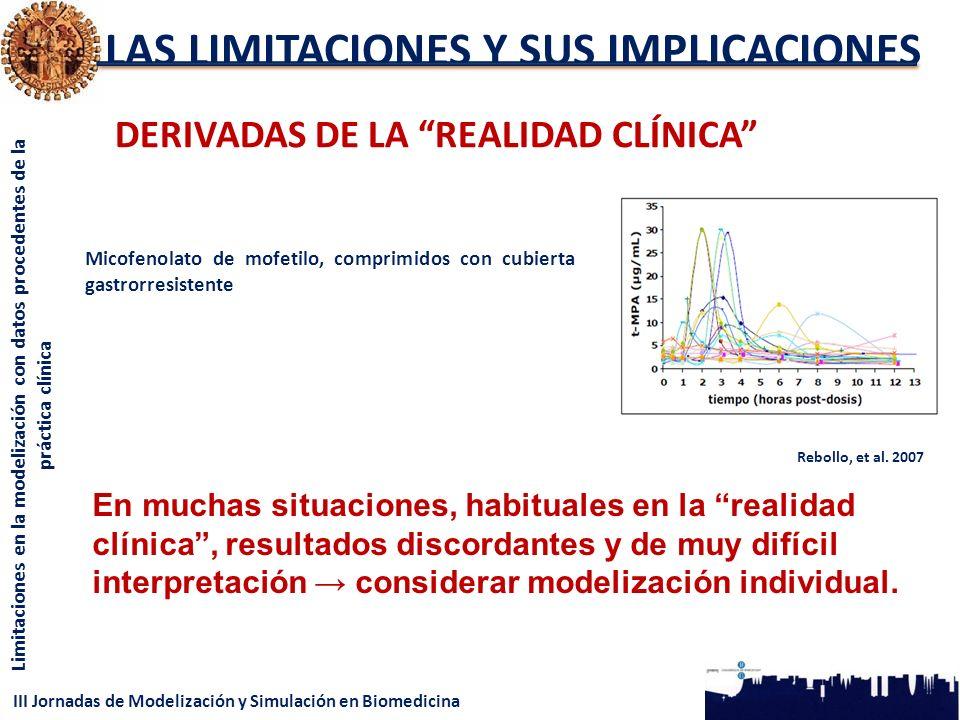III Jornadas de Modelización y Simulación en Biomedicina Limitaciones en la modelización con datos procedentes de la práctica clínica LAS LIMITACIONES Y SUS IMPLICACIONES DERIVADAS DE LA REALIDAD CLÍNICA Micofenolato de mofetilo, comprimidos con cubierta gastrorresistente Rebollo, et al.