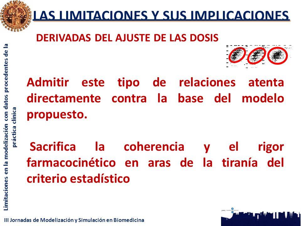 III Jornadas de Modelización y Simulación en Biomedicina Limitaciones en la modelización con datos procedentes de la práctica clínica LAS LIMITACIONES Y SUS IMPLICACIONES DERIVADAS DEL AJUSTE DE LAS DOSIS Admitir este tipo de relaciones atenta directamente contra la base del modelo propuesto.