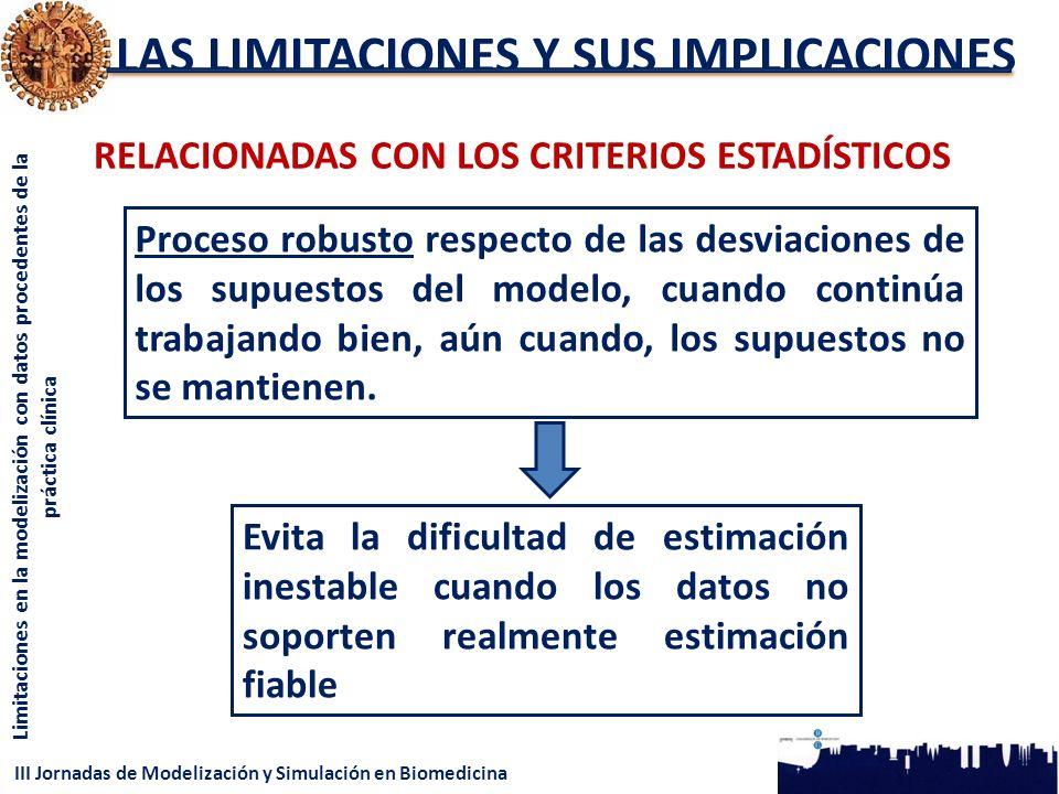 III Jornadas de Modelización y Simulación en Biomedicina Limitaciones en la modelización con datos procedentes de la práctica clínica LAS LIMITACIONES Y SUS IMPLICACIONES RELACIONADAS CON LOS CRITERIOS ESTADÍSTICOS Proceso robusto respecto de las desviaciones de los supuestos del modelo, cuando continúa trabajando bien, aún cuando, los supuestos no se mantienen.
